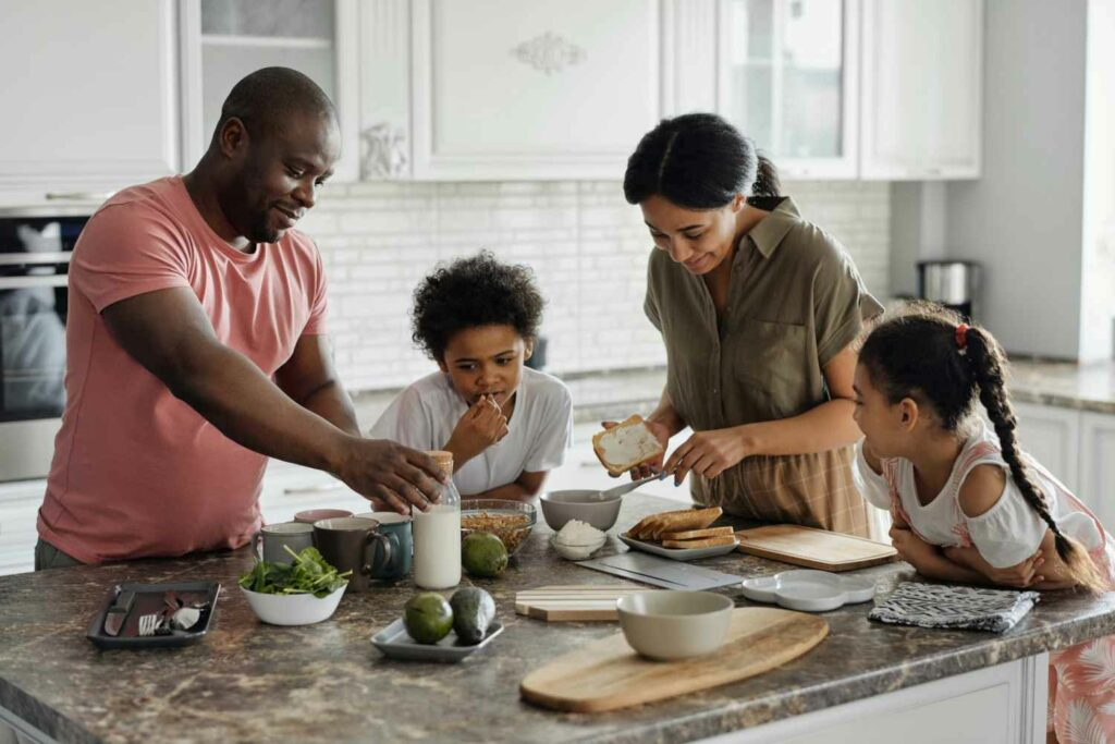 A family making dinner together